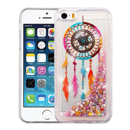 Apple iPhone SE 5S 5 Case - Wydan Slim Hybrid Liquid Bling Glitter Sparkle Quicksand Waterfall Shockproof TPU Phone Cover -