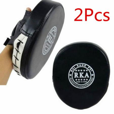 1 Pair Leather Boxing Gloves Muay Thai Kick MMA Mitt Training Target Focus Punch Pad Glove Combat Karate
