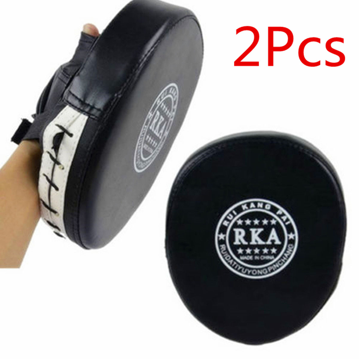 1 Pair Leather Boxing Gloves Muay Thai Kick MMA Mitt Training Target Focus Punch Pad Glove Combat Karate Muay