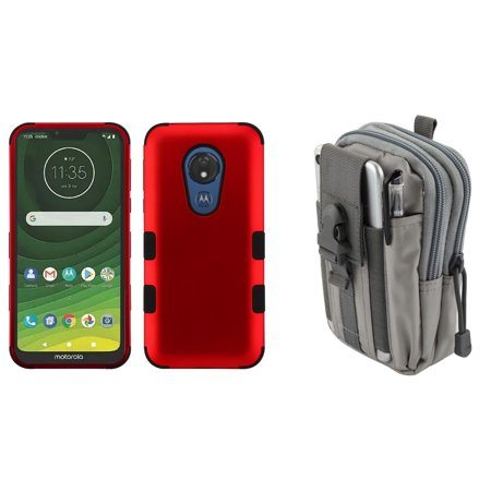 TUFF Hybrid Series Phone Case Compatible with Motorola Moto G7 Power,  Military Grade Certified Protector Case (Red) with Tactical Pouch (Gray)  and