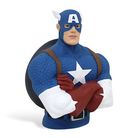 Captain America Marvel Comics Plastic Bust Bank By Monogram  W1a