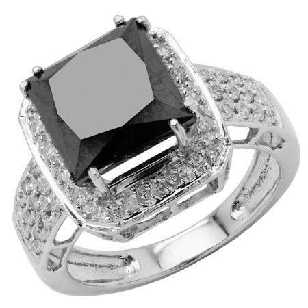 Majesty Diamonds MD180183-3 4.9 CTW Princess Black Diamond Halo Engagement Ring in 14K White Gold - Size 3 - image 1 of 1