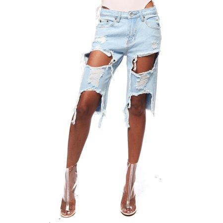 Womens Destroyed Distressed 5 Pocket Denim Wash Bermuda Shorts IP614
