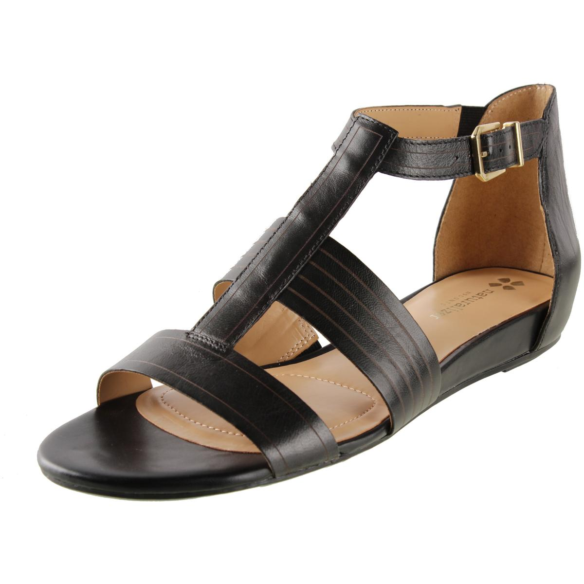 Naturalizer Womens Longing Leather Low Wedge T-Strap Sandals by Naturalizer