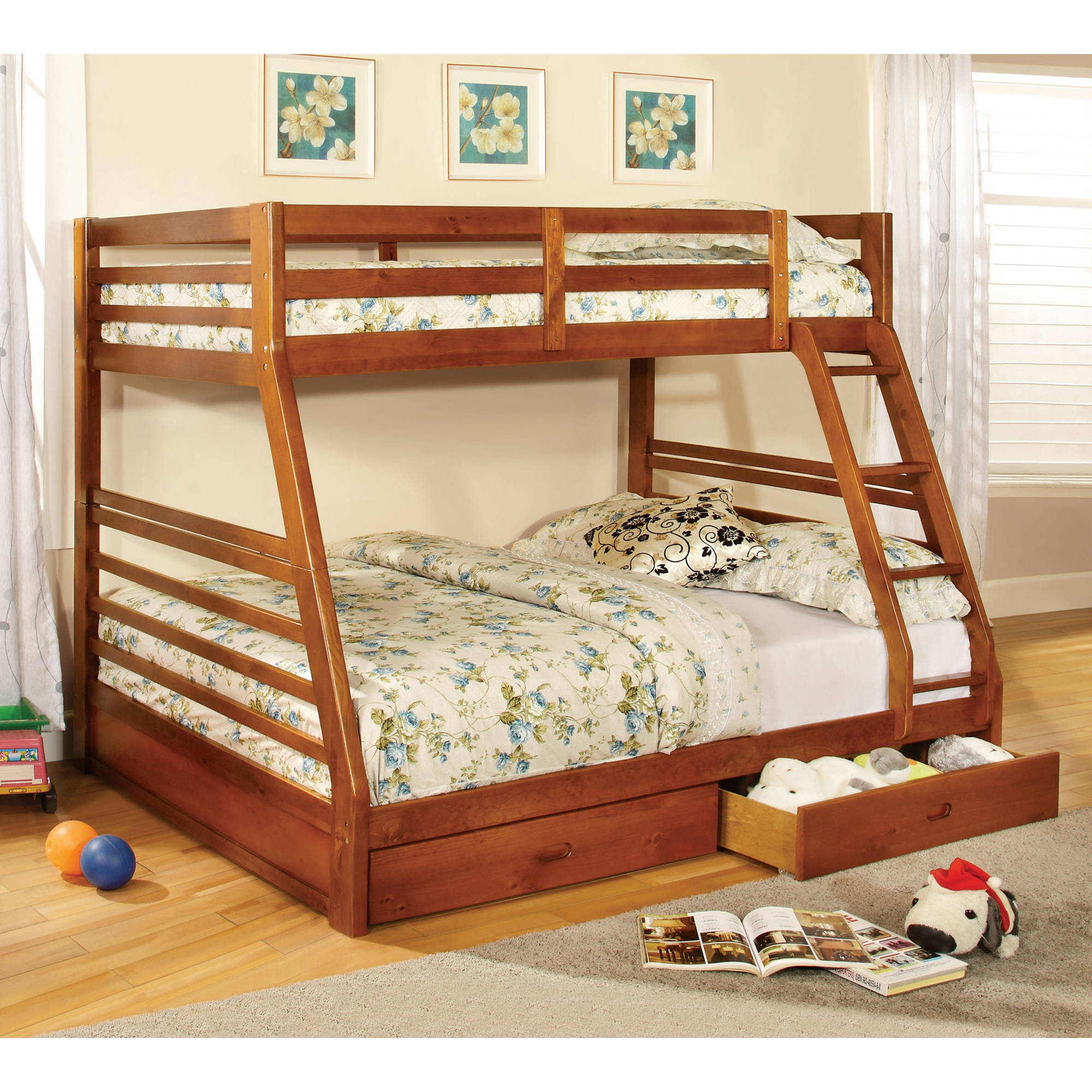 Furniture Of America Luke Twin Over Full Wood Bunk Bed With Drawers