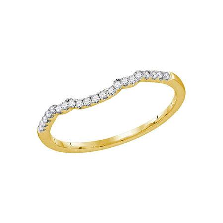 14kt Yellow Gold Womens Round Diamond Contoured Slender Wedding Band 1/10 Cttw - image 1 of 1