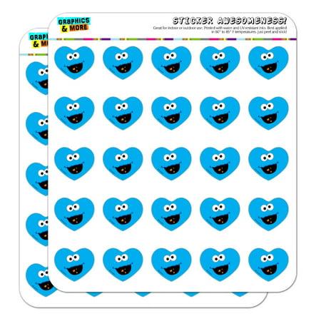 Sesame Street Cookie Monster Face Heart Shaped Planner Calendar Scrapbook Craft Stickers