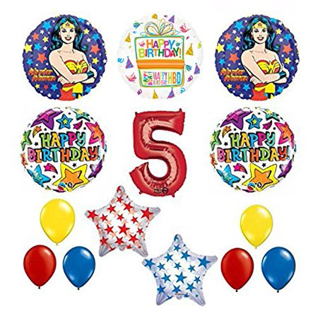 Wonder Woman 14 pc Superhero 5th Birthday Party Supplies and Balloon Decorations - Wonder Woman Pinata