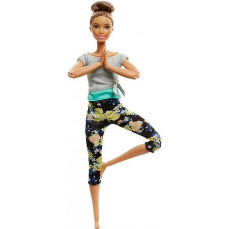 Barbie Made to Move Doll with Yellow Floral Pattern Yoga Pants