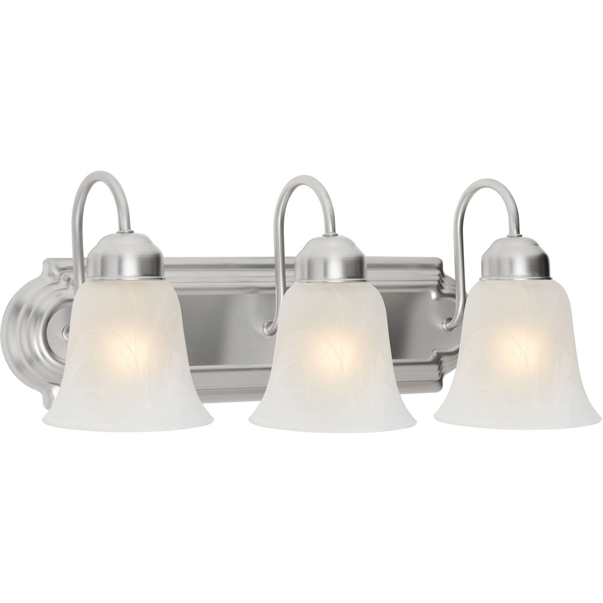 walmart bathroom lighting chapter 3 light bathroom vanity light satin nickel 15007
