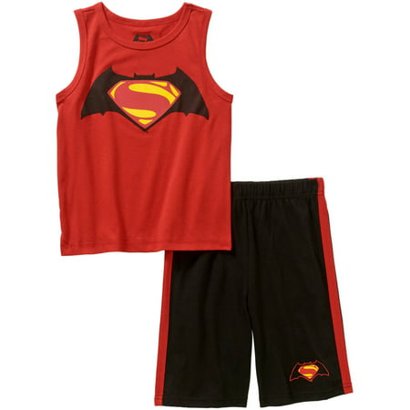 Batman and Superman Toddler Boys' Tank Top and Shorts Outfit Set - Online Exclusive (Boys Superman Outfit)