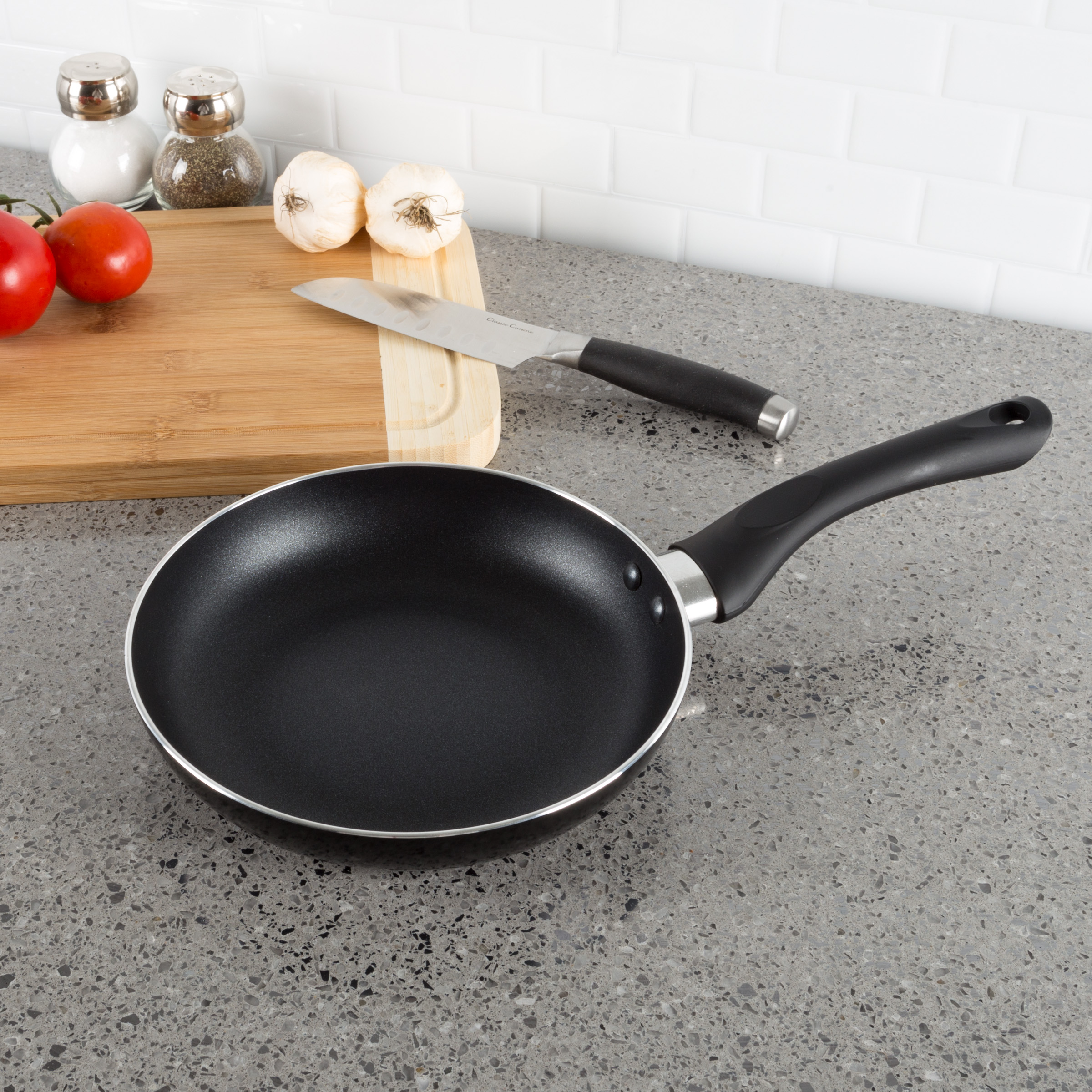 Non Stick 8? Frying Pan with Heat Safe Handle- Oven / Dishwasher Safe Allumi-Shield Cookware Skillet and Saut?? Fry Pan by Classic Cuisine (Black)