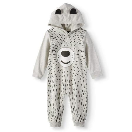 Miniville Baby Boys' Bear Face Hooded One Piece Romper (Baby Boy Halloween Face Paint)