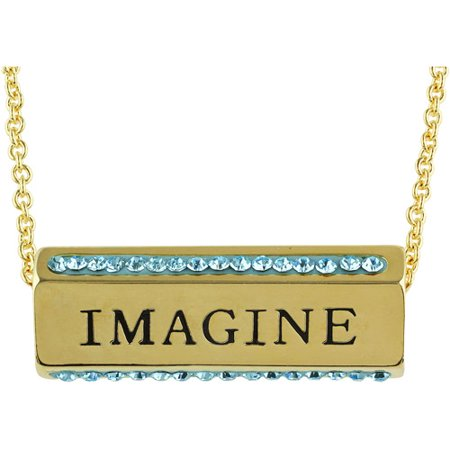 Truly Inspired Gold Plated Dream Imagine Believe Crystal Sentiment 18 Necklace With Gift Box