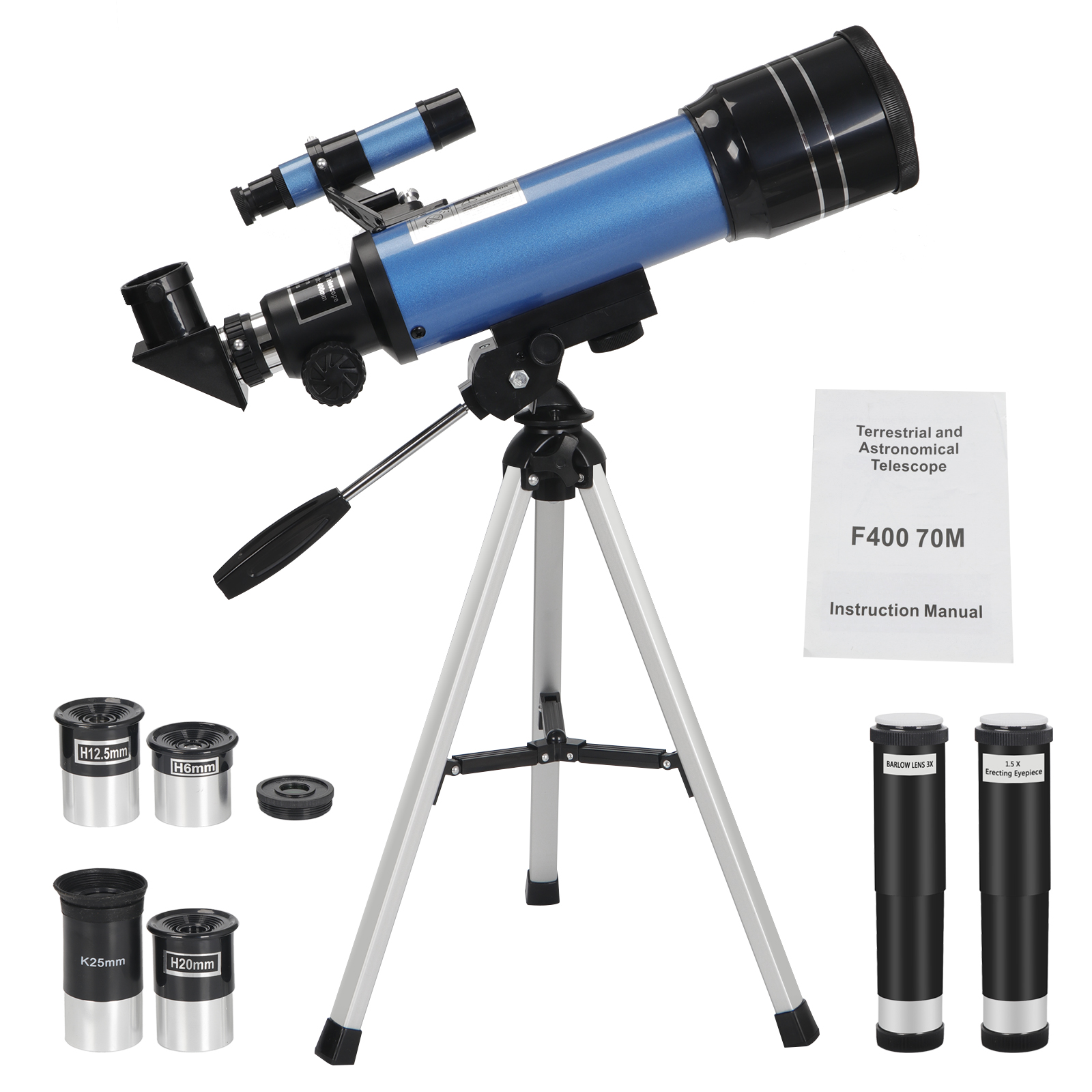 Zeny 70mm Refractor Telescope with Tripod & Finder Scope, Portable Telescope for Kids & Astronomy Beginners, Travel Scope with 3 Magnification eyepieces & Moon Mirror