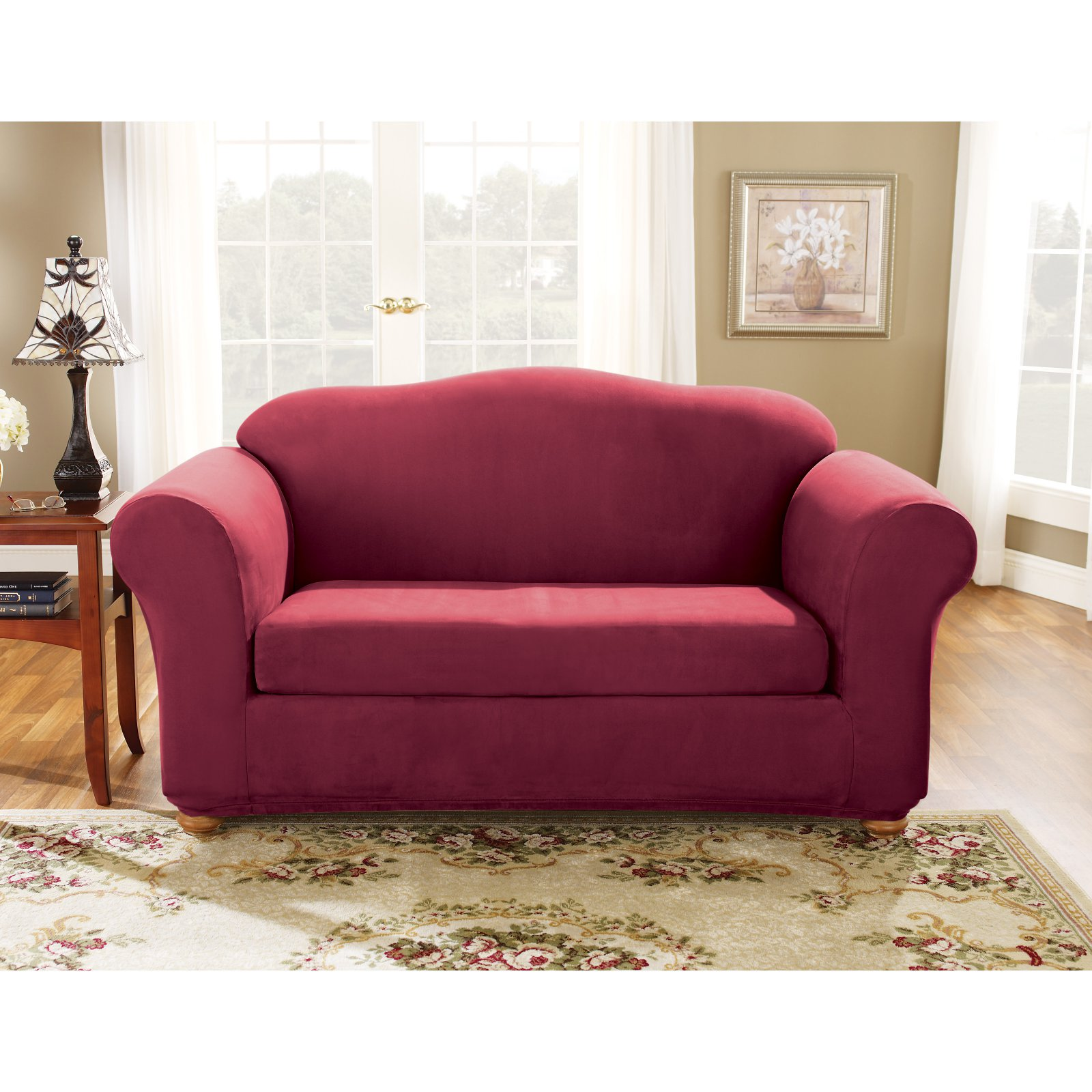 Sure Fit Stretch Suede Bench Cushion Two Piece Sofa Slipcover   Walmart.com