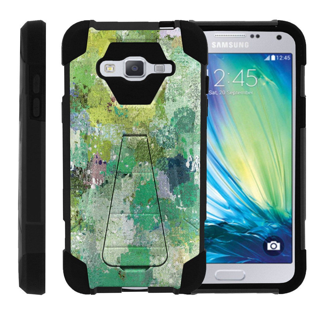 Samsung Galaxy J3 |Amp Prime | Express Prime| Samsung Sol| J3V Case Durable Hybrid SHOCK Impact Kickstand Case with Art Pattern Designs by Miniturtle® - Enveloping Green