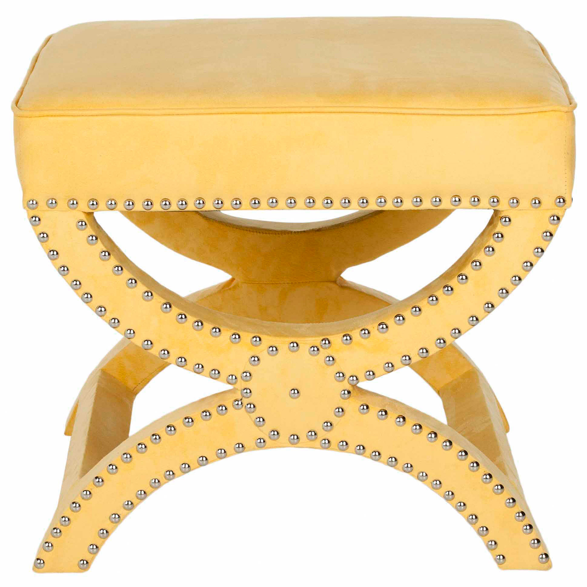 Safavieh Mystic Ottoman with Silver Nail Heads, Multiple Colors