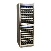 EdgeStar 155 Bottle Double Door Dual Zone Built-In Wine Cooler - Black and Stainless Steel