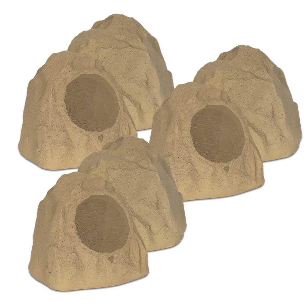 "Theater Solutions 6R8S Outdoor Sandstone 8"" Rock 6 Speaker Set for Deck Pool Spa Yard Garden"