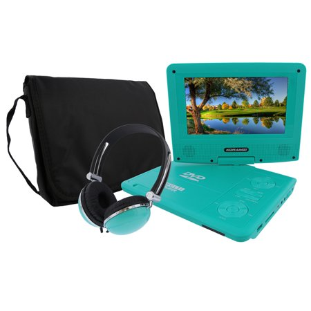 Koramzi PDVD777-7 inch Swivel and Fold Portable DVD/CD/MP3 Player with Matching Color Headphones and Carrying Bag  with Built-In Rechargeable Battery, USB/SD Card Reader, AC/DC Adapter(Green)