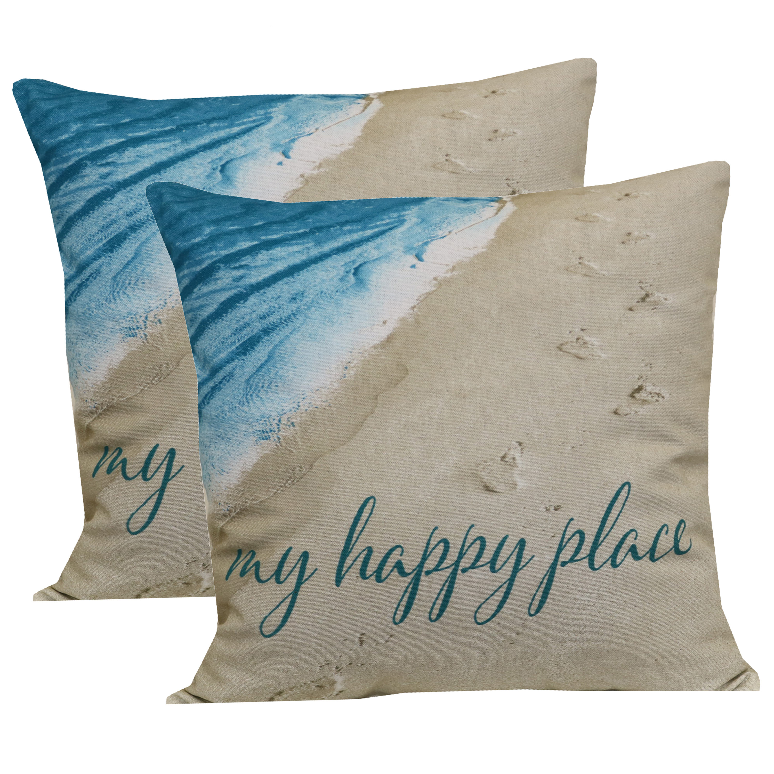 Set Of 2 My Happy Place Outdoor Toss Pillow Decorative