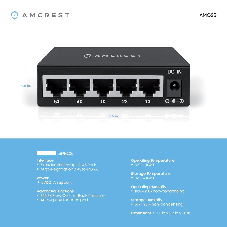 Amcrest 5-Port Gigabit Ethernet Network Switch - Walmart.com