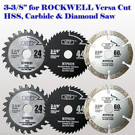Masonry Block Saw (MTP 6x 3-3/8-inch Diamond / Wood/ Metal Circular Saw Blade for Rockwell Versacut Versa Cut Rk3440k , Makita 3-3/8
