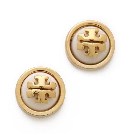 Tory Burch Melodie Logo Stud Earrings Ivory/ Gold One (Tory Burch Golf)