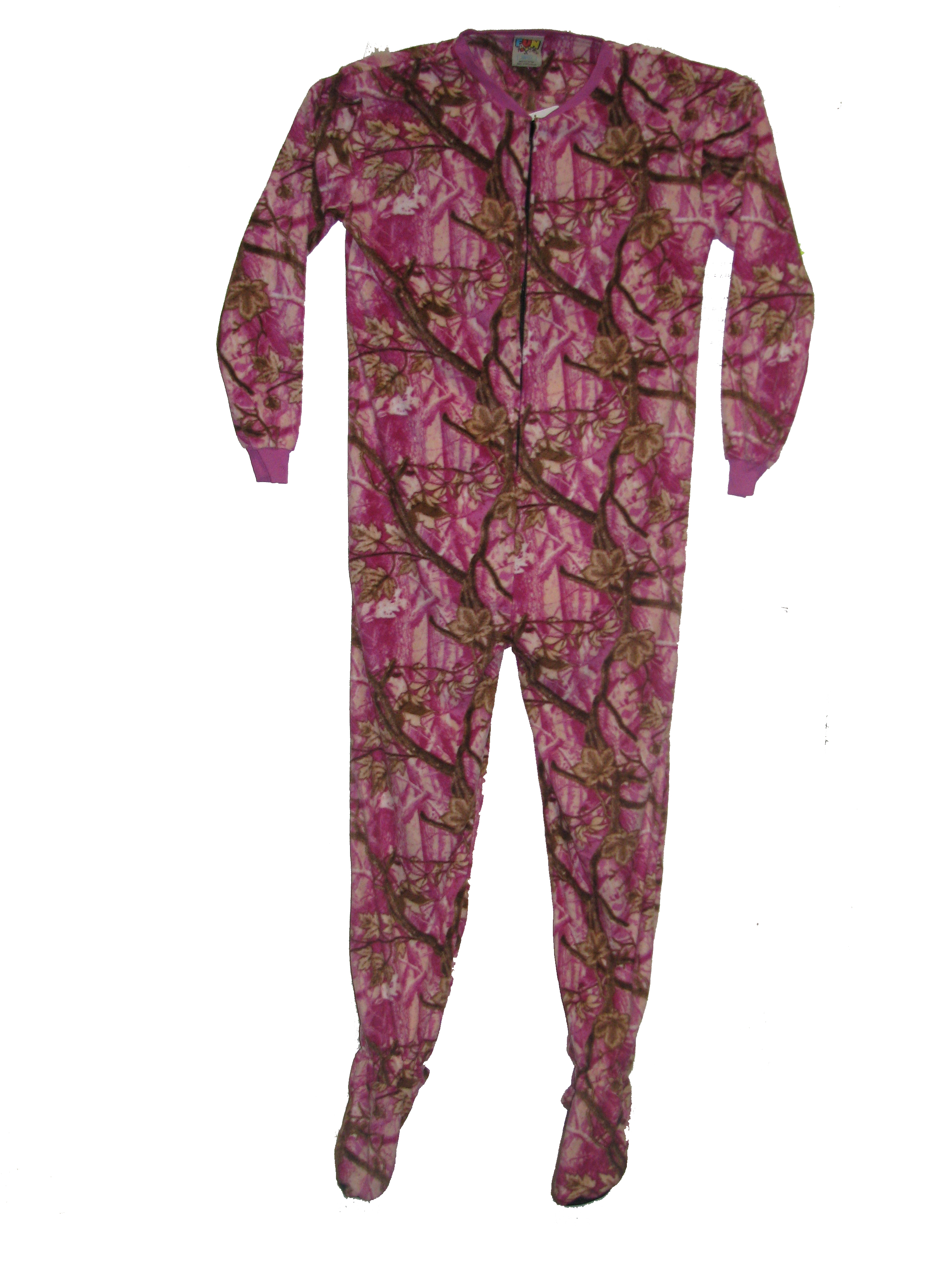 Pajama Fun Prints Footed One Piece Pajamas- Pink Forest Real