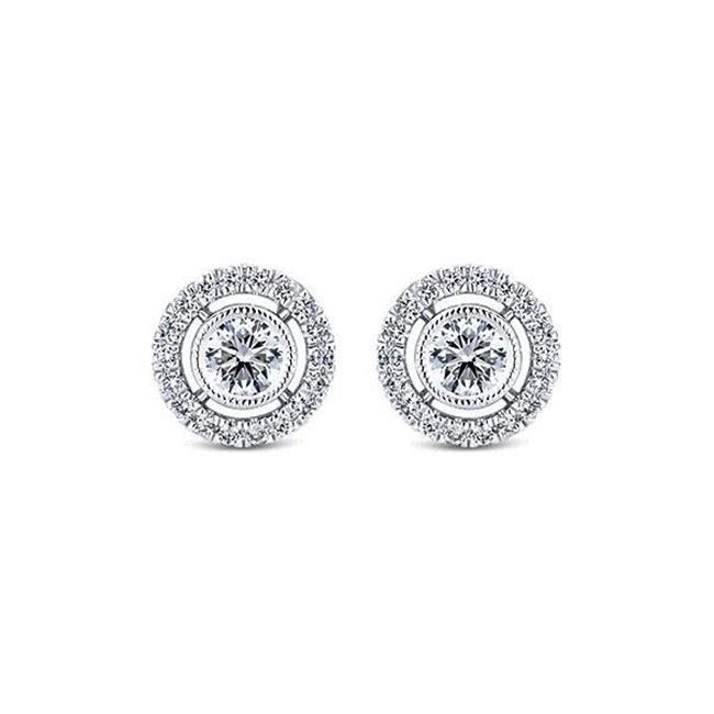 Harry Chad Enterprises HC10050 1.5 CT G-VS2 Round Shaped Diamond Stud Halo Earring - 14K White Gold - image 1 of 1