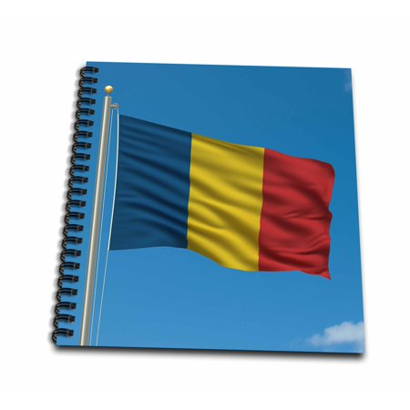 3dRose Flag of Romania on a flag pole with blue sky Romanian - Mini Notepad, 4 by