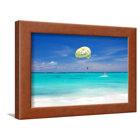 Beautiful Caribbean Beach in Dominican Republic. Unrecognizable People. Framed Print Wall Art By haveseen Dominican Republic Caribbean Framed