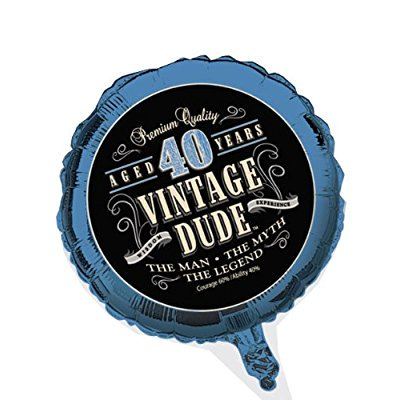 creative converting vintage dude 40th birthday 2-sided round mylar balloon - Vintage 40th Birthday Decorations