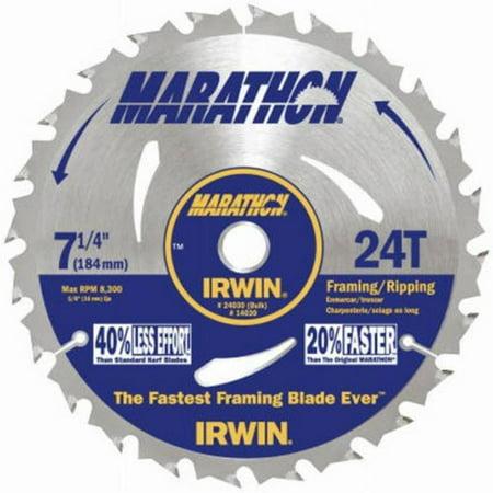 MARATHON Carbide Corded Circular Saw Blade, 7 1/4-inch, 24T (24030), N/A By Irwin Tools ()