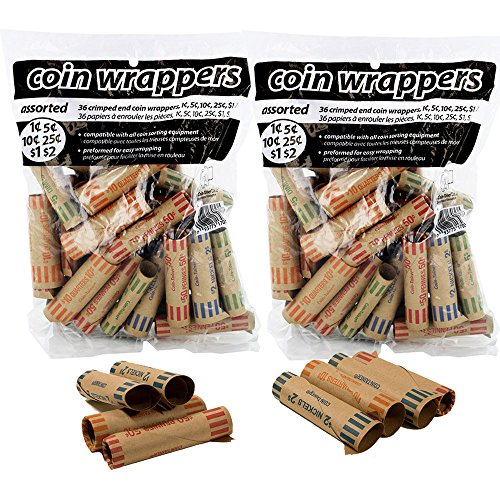 Coin-Tainer Coin Wrappers Assorted Quarter, Dimes, Nickels, Pennies (72 Count)