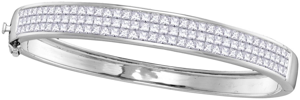 14kt White Gold Womens Princess Natural Diamond Bangle Fashion Bracelet (6 cttw.) by Mias Collection