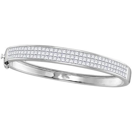 (14kt White Gold Womens Princess Natural Diamond Bangle Fashion Bracelet (6 cttw.))
