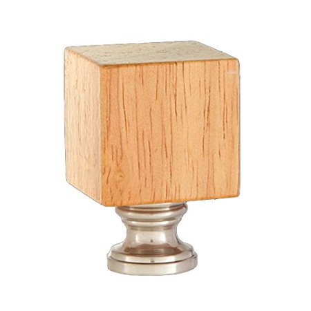 - Wooden Cube Design, Oak Finish Finial, Satin Nickel Brass Base, Wooden Cube Design, Oak Finish Finial, Satin Nickel Brass Base By B&P Lamp