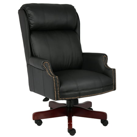 Traditional High Back Caressoftplus Chair with Mahogany Base Black - Boss Office Products