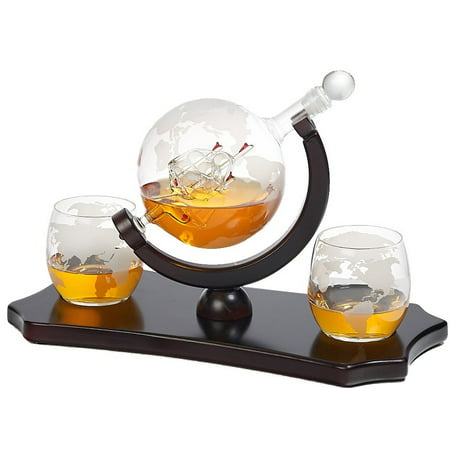 Elegant Whiskey Decanter Set - Etched Globe Design with 2 Matching Glasses Wooden Handle on Tray - Impressive Bar Set