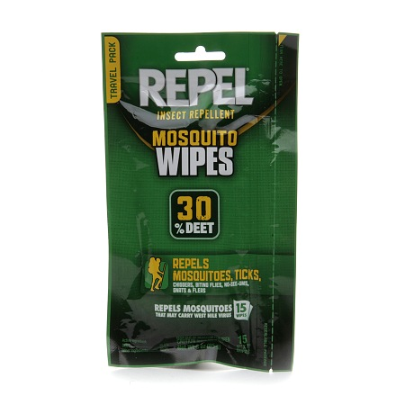 Repel Insect Repellent Mosquito Wipes 30% DEET 15.0 ct(pack of 4)