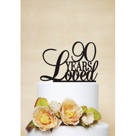 RENEWFOX 90 Years Loved Cake Topper90th Birthday Anniversary TopperWedding Topper