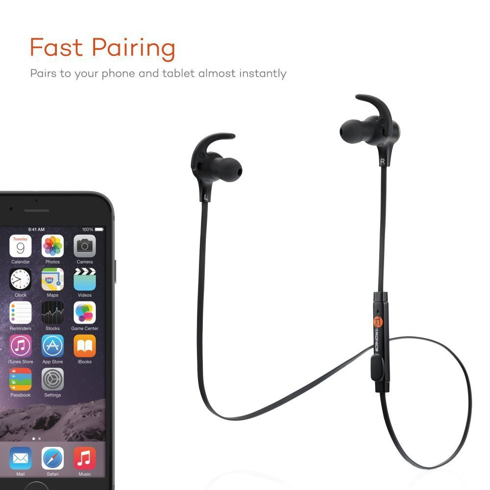 2ac8660d4fe TaoTronics Bluetooth Headphones, Wireless 4.1 Magnetic Earbuds aptX Stereo  Earphones, IPX5 Splash Proof Secure Fit for Sports with Built-in Mic -  Walmart. ...
