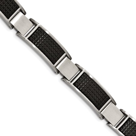 Stainless Steel Brushed Black IP Textured Link with .50in Extender Bracelet 8in - image 4 de 4