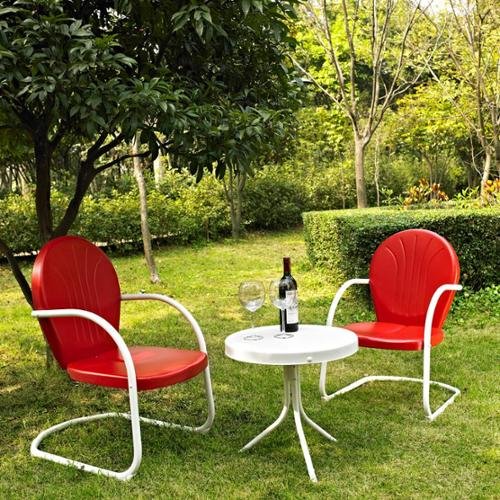 Griffith 3 Piece Metal Outdoor Conversation Seating Set - Two Chairs with Side Table -Chair Color:Red