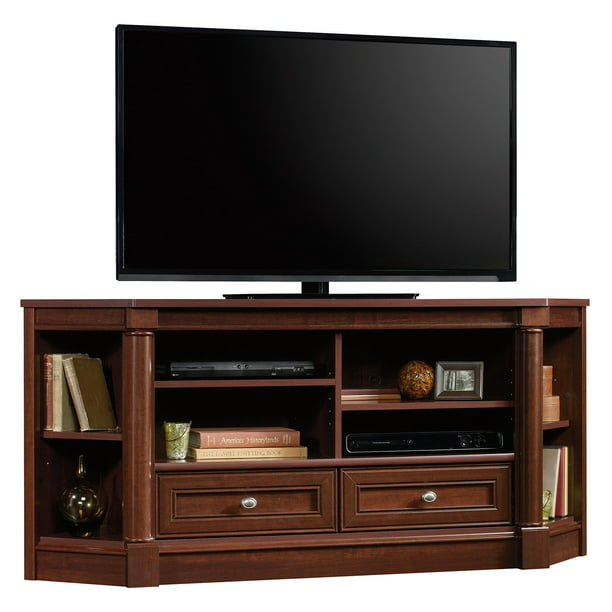 "Sauder Palladia Corner Entertainment Credenza for TVs up to 60"", Select Cherry Finish"