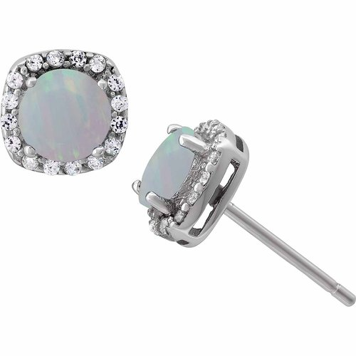 Opal and White CZ Sterling Silver Round Halo 5mm Stud Earrings