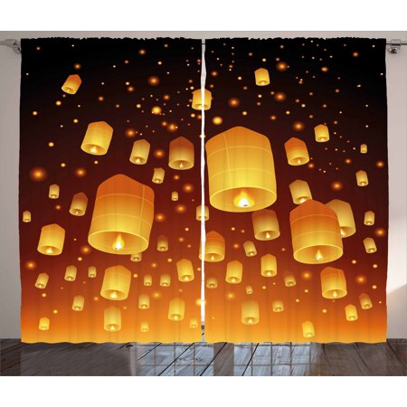 Lantern Curtains 2 Panels Set, Loy Krathong and Yi Peng Festival Thailand Culture Traditional Old Celebrations, Window Drapes for Living Room Bedroom, 108W X 84L Inches, Black Orange, by Ambesonne