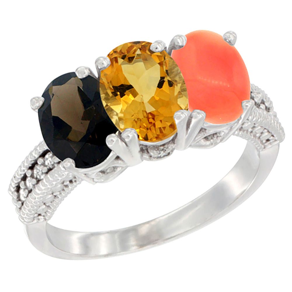10K White Gold Natural Smoky Topaz, Citrine & Coral Ring 3-Stone Oval 7x5 mm Diamond Accent, sizes 5 10 by WorldJewels